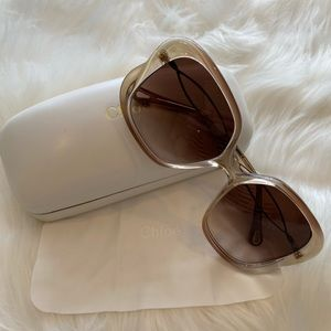 Chloé White Petal 56mm Rectangle Sunglasses